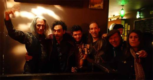 Lenny Kaye swings with Jonathan Toubin, Bobby Rich (Bootleg Bar), Drew Redmond, Todd-O-Phonic Todd, Danny Rozelle (Pretty Quick) at the WHAM-O WATUSI.